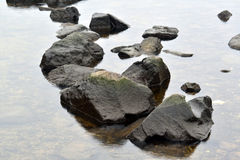 在安静的河的大石头 图库摄影