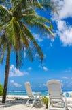 在完善的两张海滩睡椅 免版税库存图片