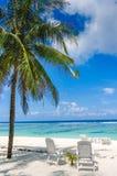 在完善的两张海滩睡椅 库存图片