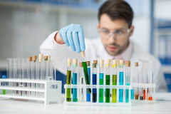 在实验室供以人员防护玻璃的科学家分析试管的 免版税库存图片