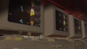 在实验室分析科学实验的老计算机显示器 向量例证
