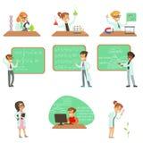 在实验室外套的孩子做科学研究在将来作梦成为的专业科学家的被设置动画片 库存例证