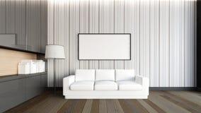 在客厅/3D翻译的白色沙发 免版税图库摄影