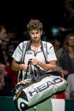 在室内网球赛期间的罗宾・哈塞 免版税库存图片