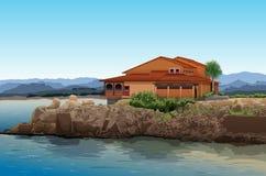 在室外的海滩House.Beautiful内部 库存照片