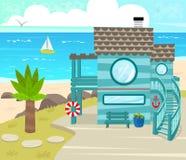在室外的海滩House.Beautiful内部 免版税库存图片