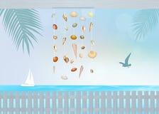 在室外的海滩House.Beautiful内部 库存图片