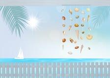 在室外的海滩House.Beautiful内部 免版税库存照片