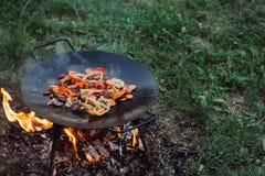 在室外的烧烤菜 库存照片