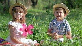 在室外的爱的一点夫妇,男孩给桃红色花坐在草的俏丽的女孩 影视素材