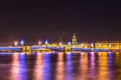在宫殿桥梁的夜视图在圣彼德堡 免版税图库摄影