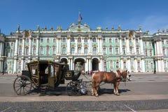 在宫殿正方形和埃尔米塔日博物馆,圣彼得堡,俄罗斯的马支架 免版税库存图片