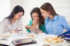 在家一起学习小组的学生 免版税库存图片