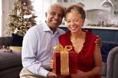 在家交换圣诞节礼物的资深夫妇 库存照片