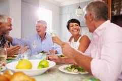 在家享受膳食的小组成熟朋友一起 免版税库存照片