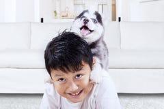 在家使用与多壳的小狗的激动的男孩 免版税库存照片