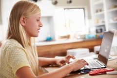 在家使用便携式计算机的女孩 库存照片