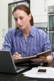 在家使用膝上型计算机的女性自由职业者的工作者在厨房 图库摄影