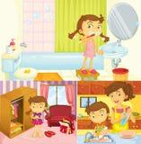 在家做不同的活动的女孩 免版税库存图片