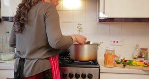 在家做咖喱的妇女 影视素材