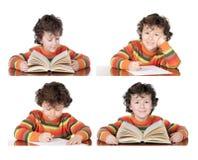 在家做家庭作业的一个应用的孩子的四个图象 免版税库存照片