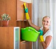 在家做清洁的主妇 库存照片