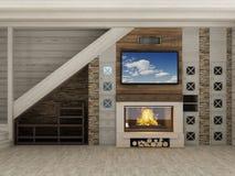 在家光内部的壁炉  库存照片