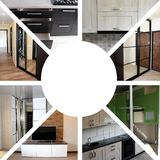 在家具的题材的拼贴画 在白色的被隔绝的家具 图库摄影