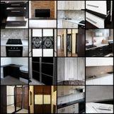 在家具的题材的拼贴画 在黑色的家具 免版税库存图片
