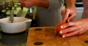 在家准备食物的女同性恋的夫妇在厨房4k里 股票视频