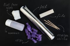 在家取消紫外胶凝体擦亮剂的工具在黑背景 免版税图库摄影