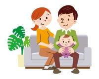 在家坐在沙发的快乐的家庭 向量例证