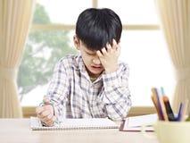 在家学习亚裔的男小学生 库存图片