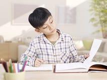 在家学习亚裔的男小学生 库存照片