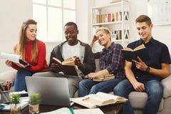 在家学习在长沙发的小组不同的学生大气 库存图片