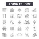 在家居住线象,标志,传染媒介集合,概述例证概念 向量例证