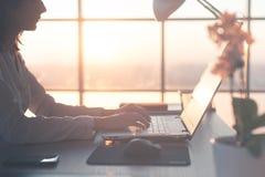 在家工作使用计算机的成人女实业家,学习在个人计算机屏幕上的企业想法 图库摄影