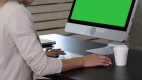 在家工作在键盘关闭的妇女办公室手  绿色屏幕大模型显示 影视素材