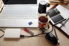 在家工作的过程 图库摄影