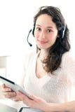 在家工作年轻的女商人画象  免版税库存照片