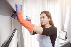 在家清洗的少妇,清洗的服务概念 库存照片
