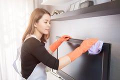 在家清洗的少妇,清洗的服务概念 库存图片