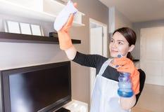 在家清洗镜子的年轻佣人与浪花,清洗服务概念 库存图片