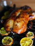 在家烘烤在烤箱有壳的鲜美鸭子 免版税库存图片
