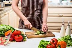 在家烹调在厨房里的少妇 妇女切开一个黄瓜和菜与刀子 库存照片