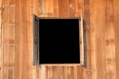 在家的开窗口和木头墙壁 图库摄影