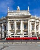 在家的维也纳国家歌剧院前面的人们Hofburg 图库摄影