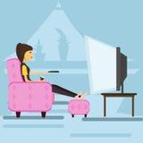 在家看电视的女孩 向量 库存照片