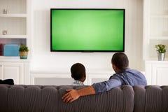 在家看电视的父亲和儿子一起,后面看法 免版税库存照片