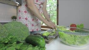 在家砍戒毒所圆滑的人的妇女绿色菜 健康吃,素食食物,节食 影视素材